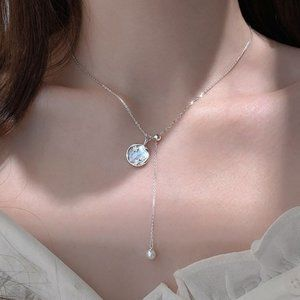 *NEW 925 Sterling Silver Pearl Shell Necklace B